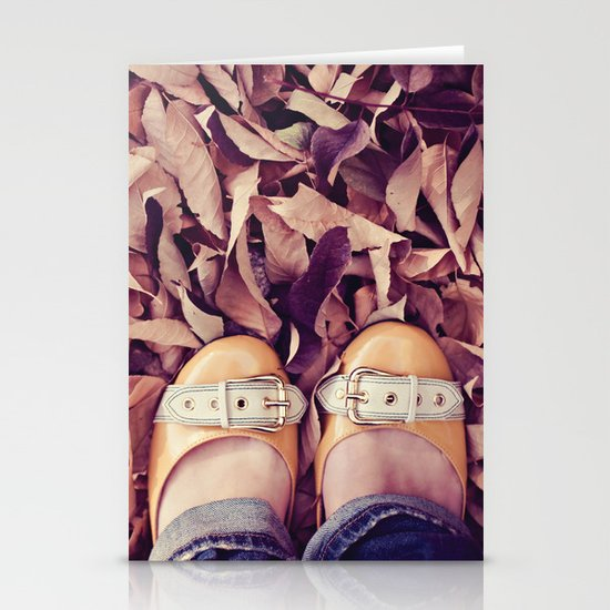 yellow shoes, fall leaves Stationery Cards