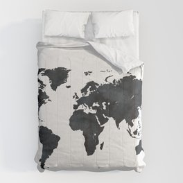 World Map in Black and White Ink on Paper Comforters