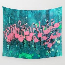 :: Flamingos Among Us :: Wall Tapestry