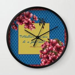 Qua-trefoil Red Geraniums Wall Clock