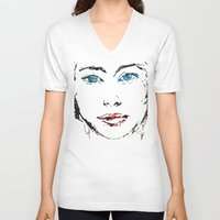 no face V-neck T-shirts featuring face by Artemio Studio