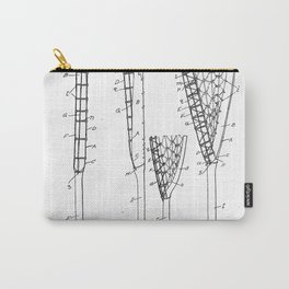 Lacrosse Stick Patent - Lacrosse Player Art - Black And White Carry-All Pouch