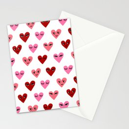 Heart love valentines day gifts hearts with faces cute valentine red and pink Stationery Cards