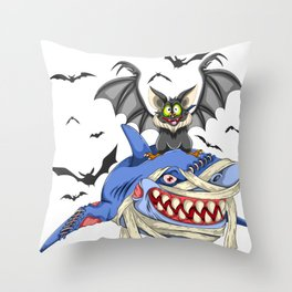 Halloween Bat And Shark Throw Pillow
