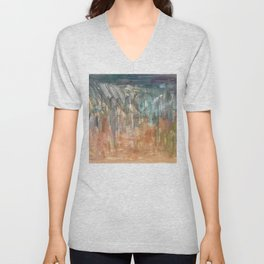 Peach to Pale Blue Abstract Painting Unisex V-Neck