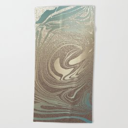 Mermaid Gold Wave Beach Towel