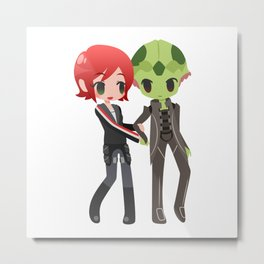 Mass Effect - Shepard and Thane [Commission] Metal Print
