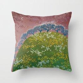 fairy garden,original oil painting, green planet Throw Pillow