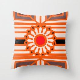 Orange Flower Abstract Throw Pillow