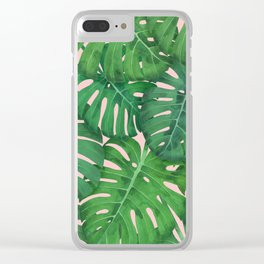 ROSE QUARTZ MONSTERA, by Frank-Joseph Clear iPhone Case