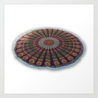 bedding Art Prints featuring Hippie Bohemian Bedding Mandala Wall Hanging by Handicrunch