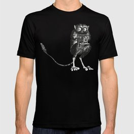 Say Cheese! | Tarsier with Vintage Camera | Black and White T-shirt