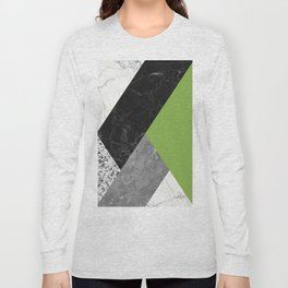 Black and White Marbles and Pantone Greenery Color Long Sleeve T-shirt
