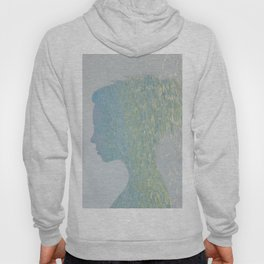 Portrait of a woman and ocean ripples Hoody