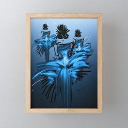 Fashion illustration of models in blue evening dresses, blue background  Framed Mini Art Print