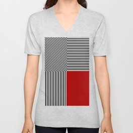 Geometric abstraction, black and white stripes, red square Unisex V-Neck