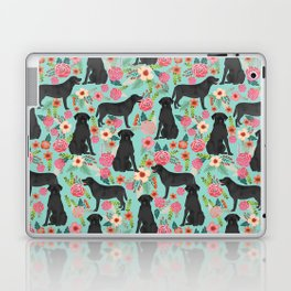 Labrador Retriever black lab floral dog breed gifts pet patterns florals black labs Laptop & iPad Skin