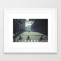 kobe Framed Art Prints featuring Kobe riders by The Kitcheners