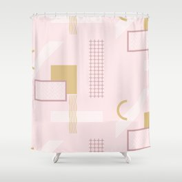 Light Pink Retro Abstract Shower Curtain
