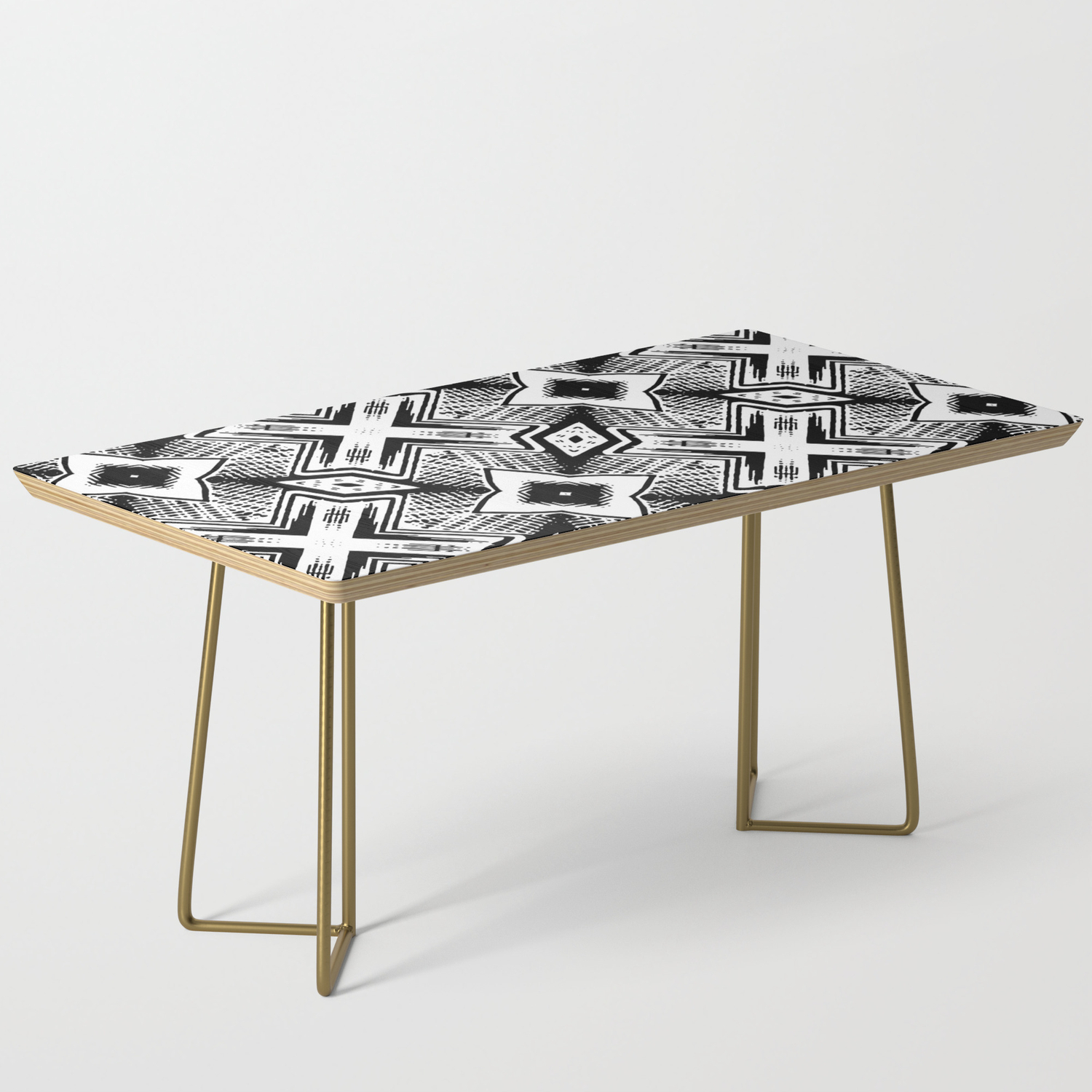 Black And White Woodcut Etching Cross Geometric Coffee Table By