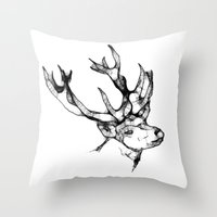antler Throw Pillows featuring deer antler by oslacrimale