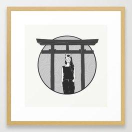 Kitsune Masked Girl Framed Art Print