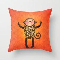 monkey Throw Pillows featuring Monkey by Anna Alekseeva kostolom3000