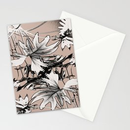Leaf in Pink and Charcoal Gray Stationery Cards