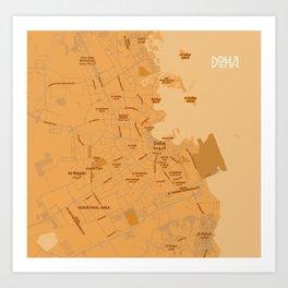 Minimalist Modern Map of Doha, Qatar 5A Art Print