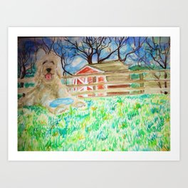 Goldendoodle Cuteness Watercolor Painting Art Print