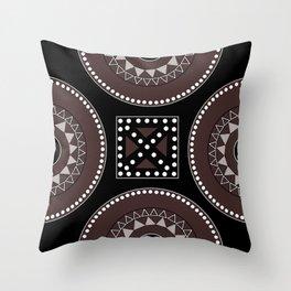 African tribal geometric decor, black, brown, white. Throw Pillow