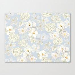 White Floral on Pale Blue Canvas Print
