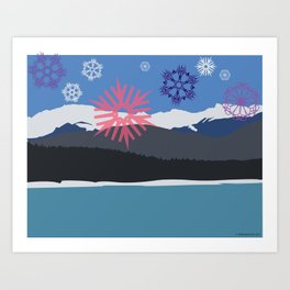 Winter Rampart with Multicolored Snowflakes Art Print