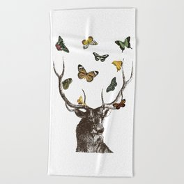 The Stag and Butterflies Beach Towel