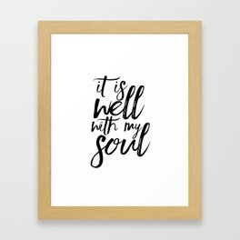BIBLE VERSE It Is Well With My Soul Bible Cover Bible Verse Wall Art Printable Art Bible Verse Sign Framed Art Print