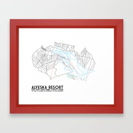 Alyeska Resort, AK - Minimalist Trail Maps Framed Art Print