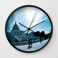 dc Wall Clocks featuring DC by Nick Duarte
