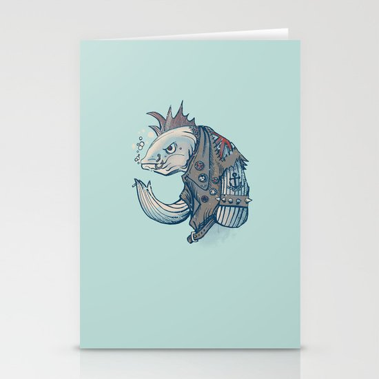Punk Fish Stationery Cards