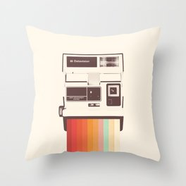 Instant Camera Rainbow Throw Pillow