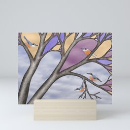 red breasted nuthatches in the stained glass tree Mini Art Print