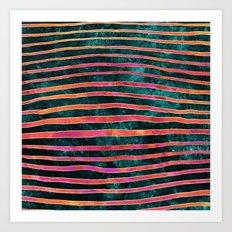 Pattern Play / Stripes on deep turquoise Art Print