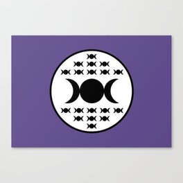 Triple Goddess Full Moon - on Ultra Violet Canvas Print