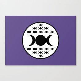 Triple Goddess Full Moon - on Ultra Violet Canvas Print