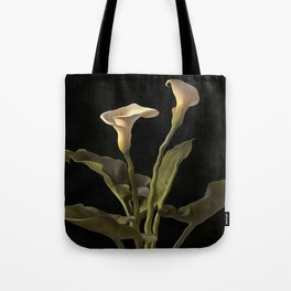 White Calla Lilies On A Black Background Tote Bag