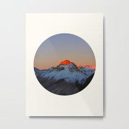 Mid Century Modern Round Circle Photo Sunrise Over Snowy Mountains Metal Print
