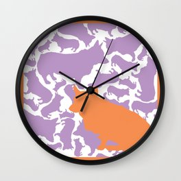 Corgi Collage with Orange and Purple Wall Clock