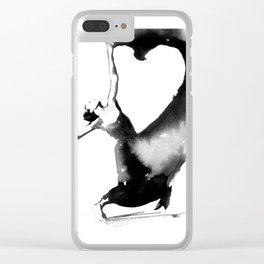 Black and white Modern Dancer Print Clear iPhone Case