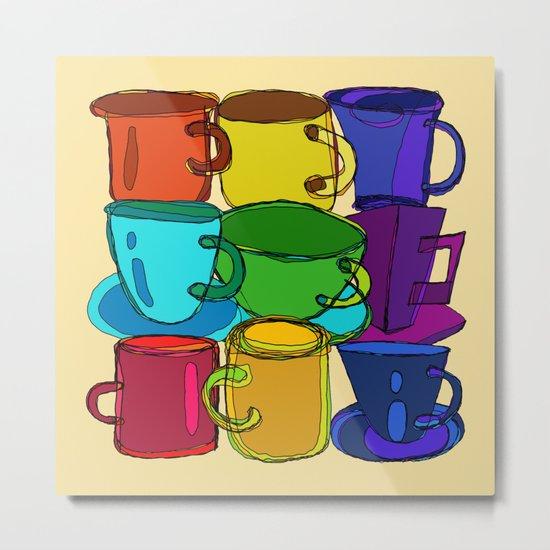 Tea Cups and Coffee Mugs Spectrum Metal Print