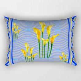 Shades of Blue Yellow Calla Lily Art Rectangular Pillow