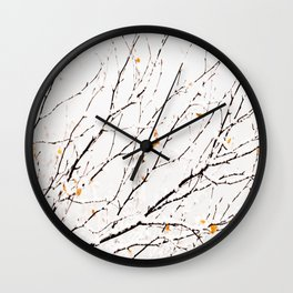 Snowy birch twigs and leaves #society6 #decor #buyart Wall Clock